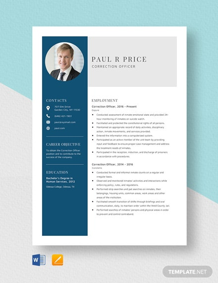 Correction Officer Resume Template