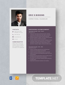 Correctional Counselor Resume Template