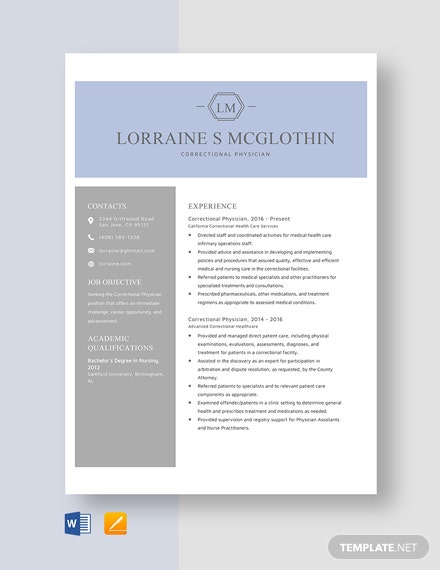 Correctional Physician Resume Template
