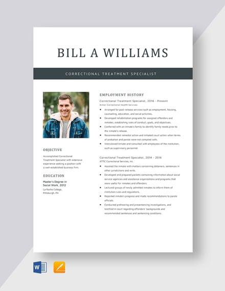 Correctional Treatment Specialist Resume