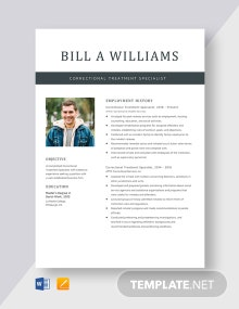 Correctional Treatment Specialist Resume Template