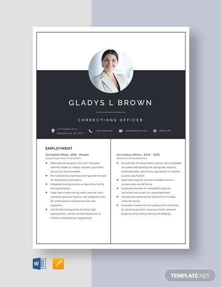 Corrections Officer Resume Template