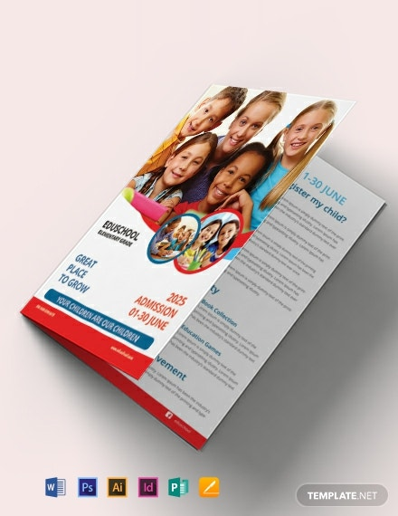 Elementary School Education Bi-Fold Brochure Template