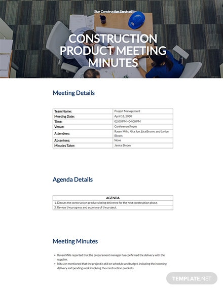 Construction Product Meeting Minutes Template