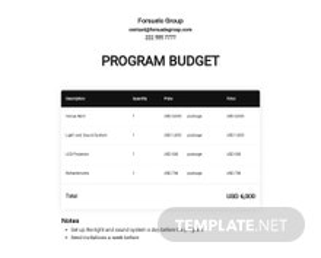 Basic Program Budget Template