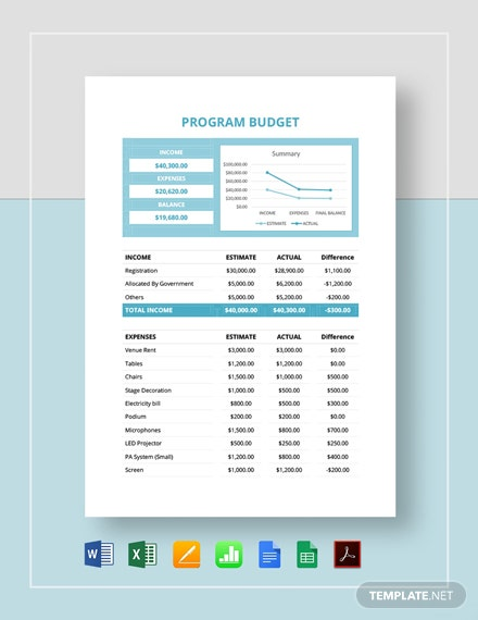 Basic Program Budget Template