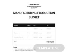 Manufacturing Production Budget Template