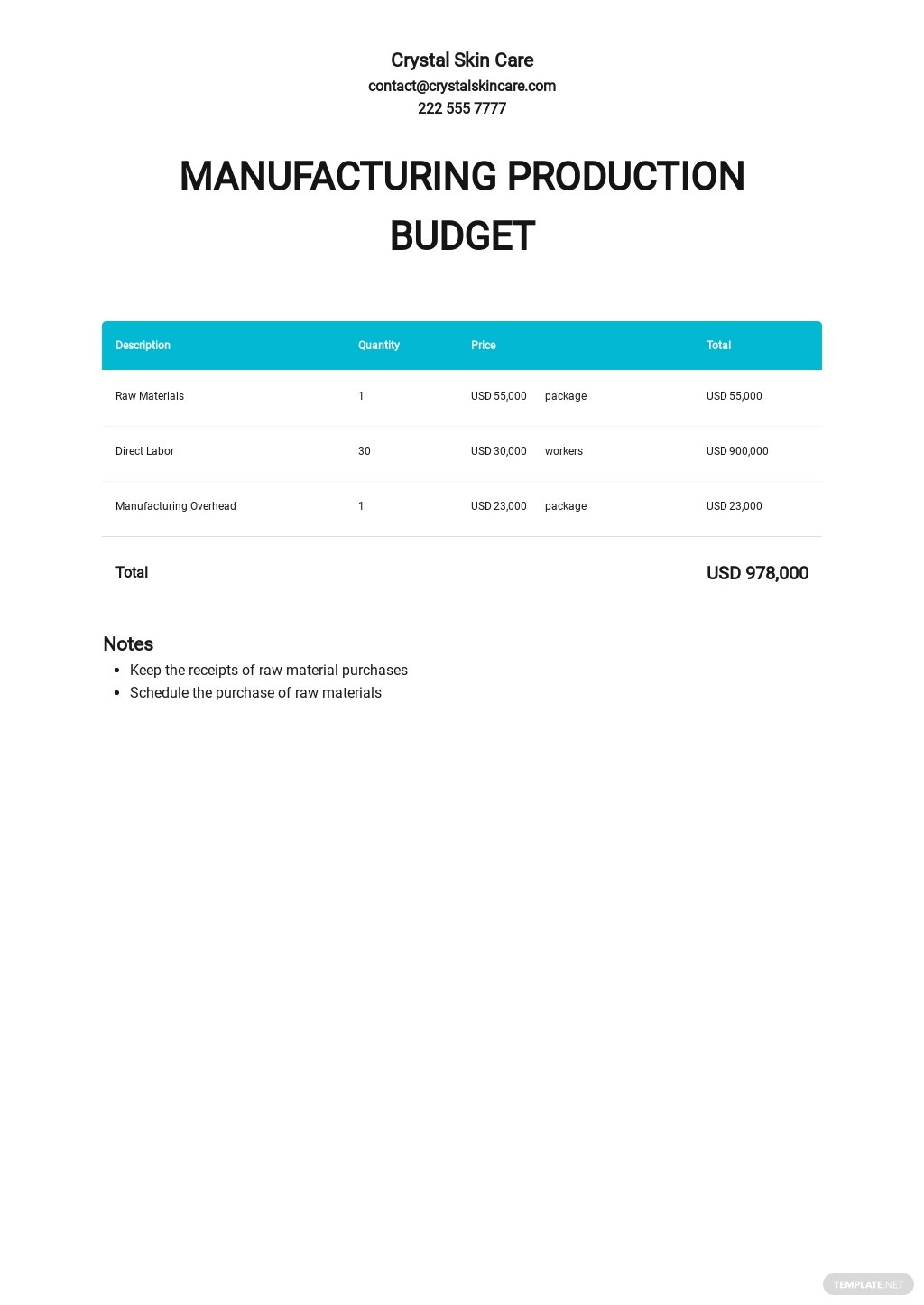 Manufacturing Production Budget Template.jpe