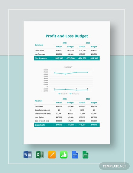 Profit and Loss Budget Template