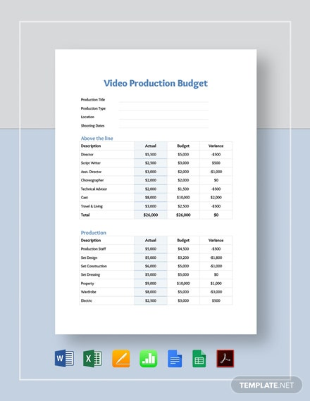 Video Production Budget Template