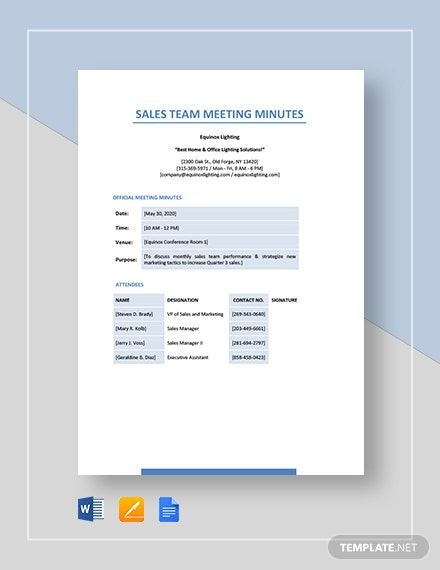 Sample Sales Team Meeting Minutes Template