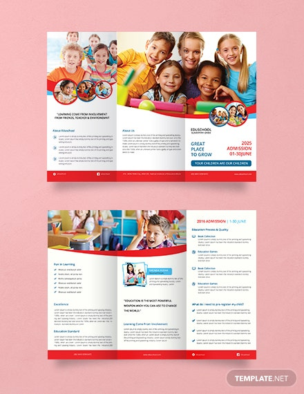 free elementary school tri fold brochure template download 151