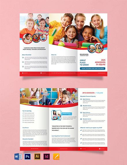 Free Elementary School Tri-Fold Brochure Template