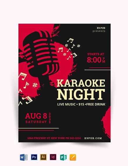 Karaoke Vintage Flyer Template