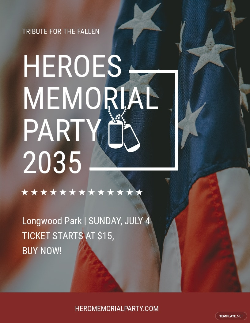 Memorial Day Party Flyer Template [Free JPG] - Illustrator, InDesign, Word, Apple Pages, PSD, Publisher