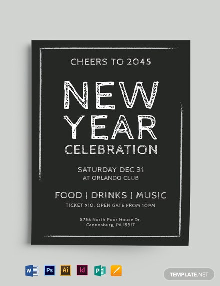 new year chalkboard flyer mockup 440