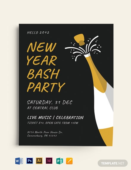 new year party bash flyer  mockup 440