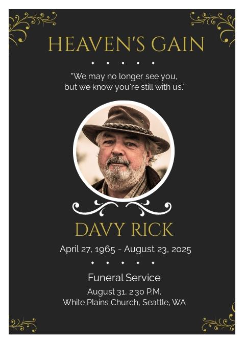 Memorial Eulogy Funeral Template