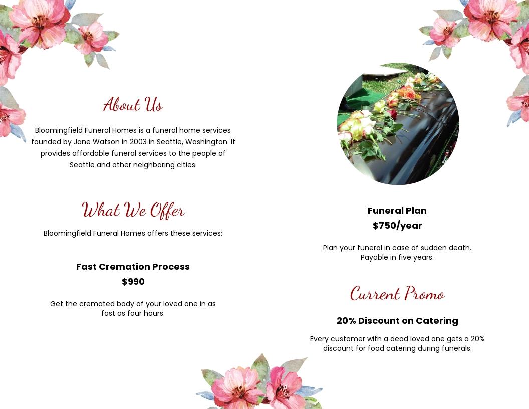 Floral Funeral Bi fold Brochure Template 1.jpe