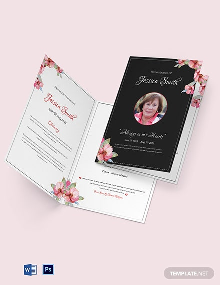 Floral Funeral Bi-fold Brochure Template