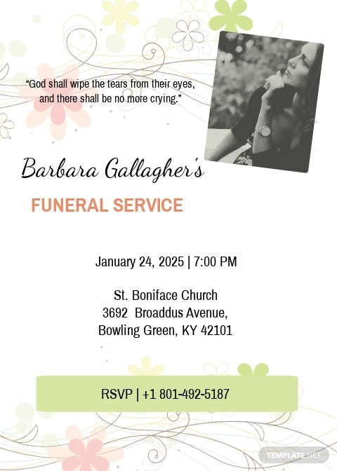 Funeral Program Invitation Card Template