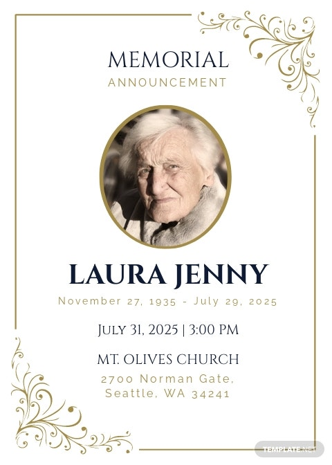Memorial Announcement Invitation Template
