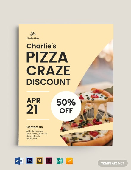 pizza discount flyer template