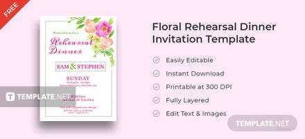 Free Floral Rehearsal Dinner Invitation Template