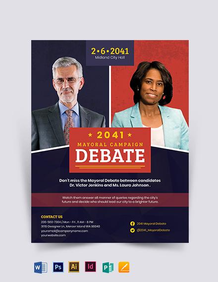 Political Debate Flyer Template