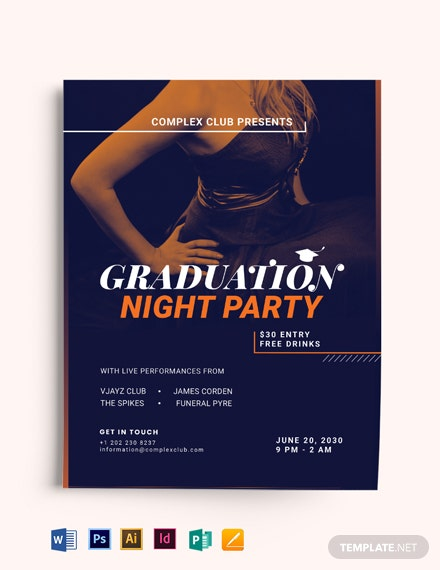 Prom Graduation Night Party Flyer Template