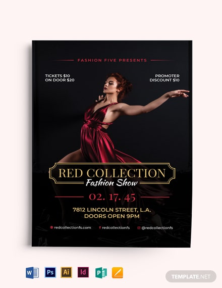 Red Velvet Fashion Show Flyer Template