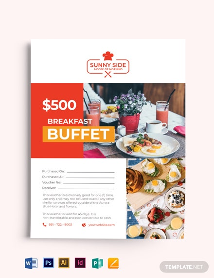 Restaurant food Gift Voucher Flyer Template