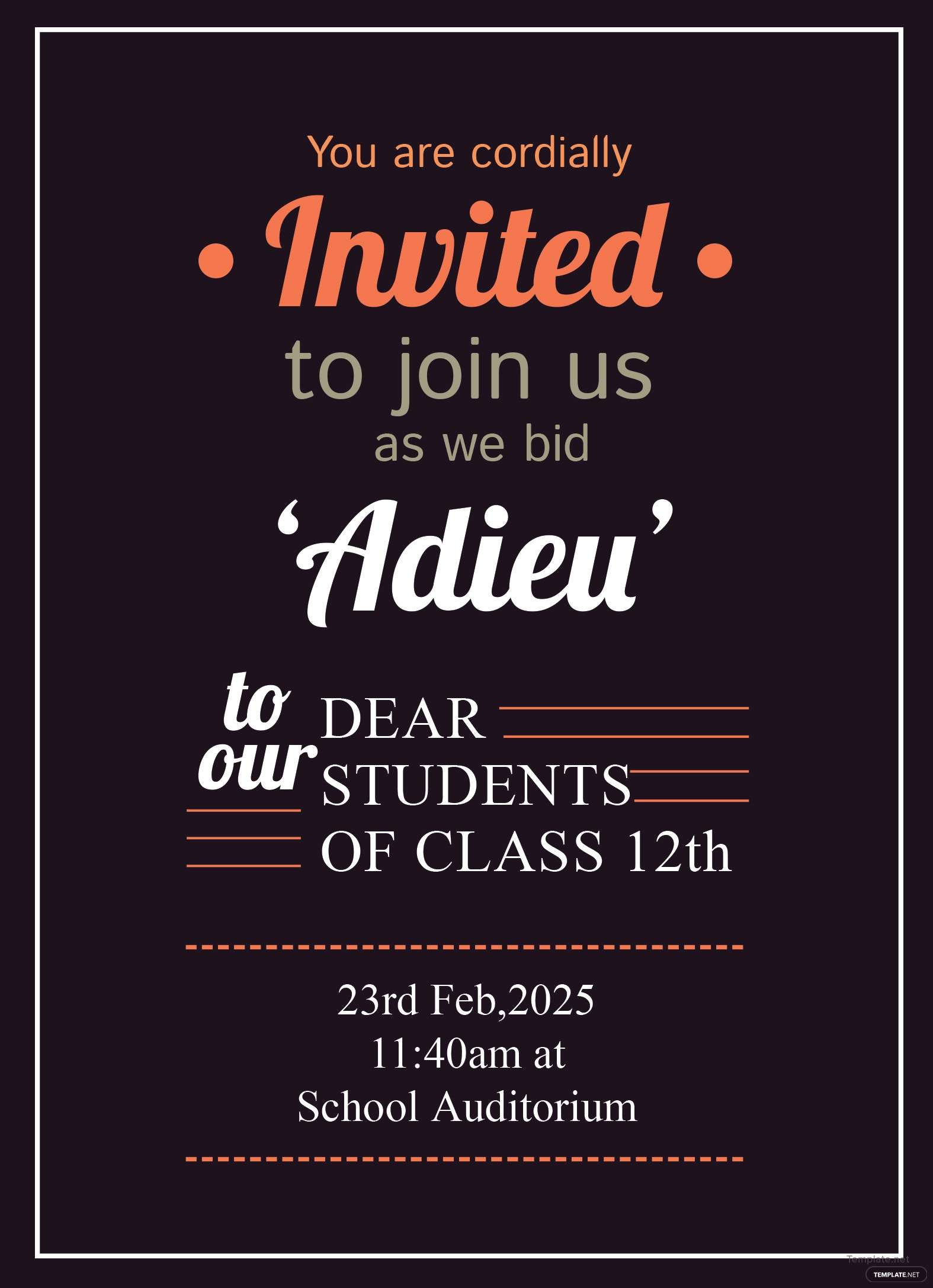 free school farewell party invitation template in adobe photoshop  illustrator