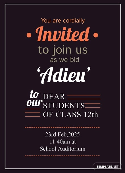 free school farewell party invitation template download 344