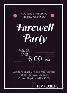 Free School Farewell Party Invitation Template