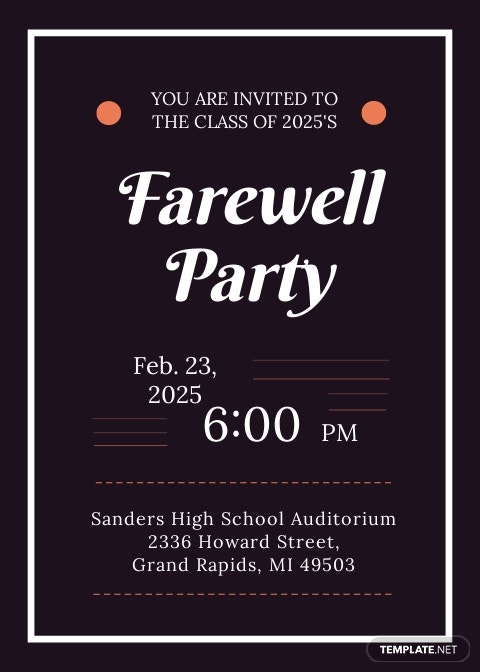 School Farewell Party Invitation Template