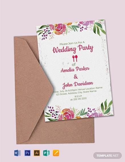 Free Wedding Party Invitation Template