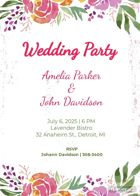 Wedding Party Invitation Template