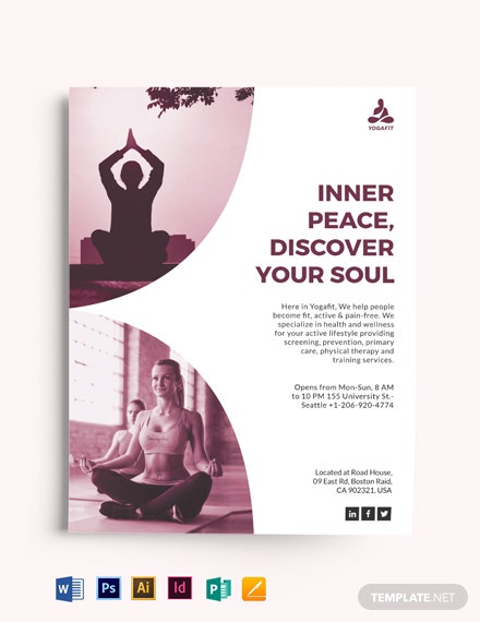 Simple Yoga Meditation Flyer Template