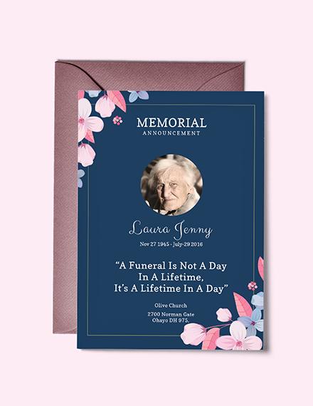 Free Memorial Service Announcement Invitation Template