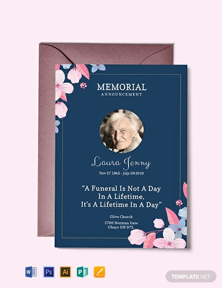 free memorial service announcement invitation template