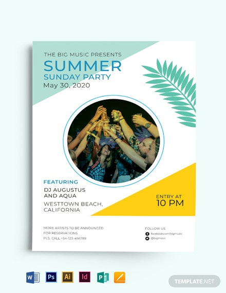 Summer Sunday Party Flyer Template