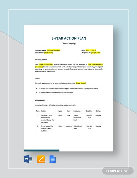 3 year action plan
