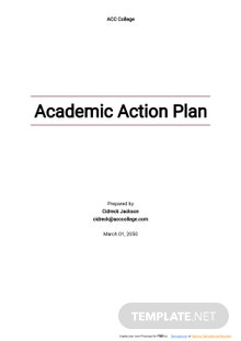 Academic Action Plan Template