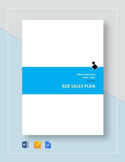 B2B Sales Plan Template