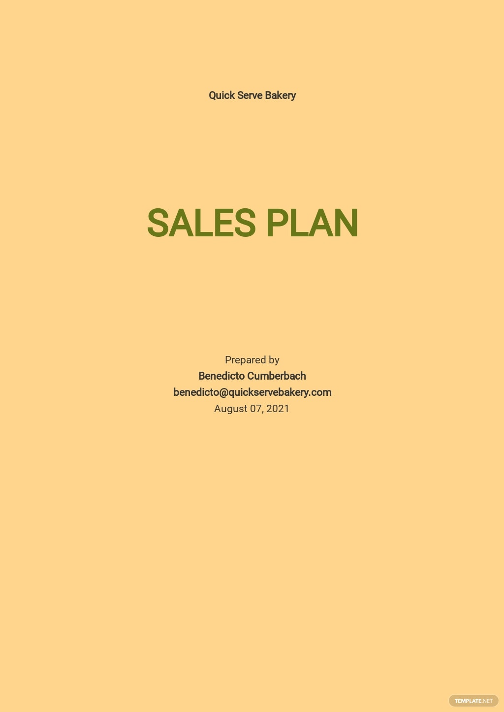 Bakery Sales Plan Template