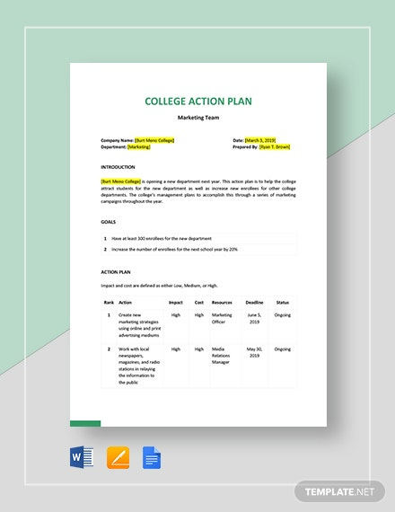 College Action Plan Template