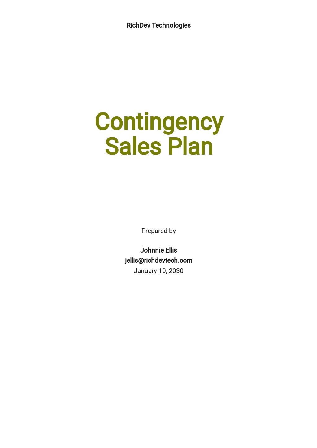 Contingency Sales Plan Template