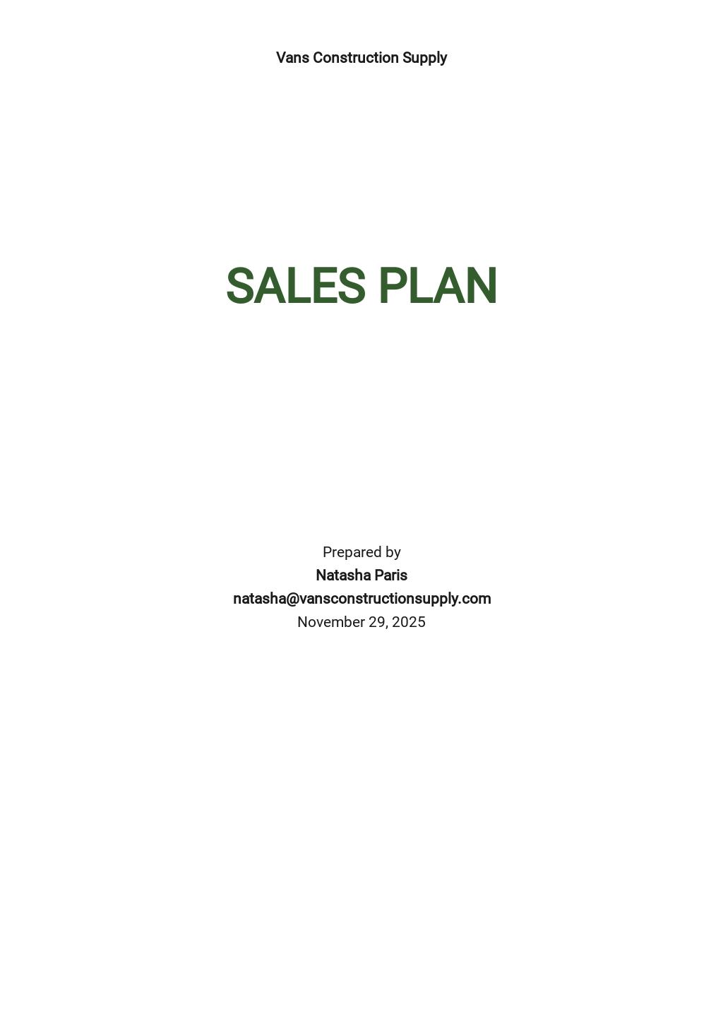 Contractor Sales Plan Template