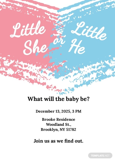 Free Gender Reveal Party Invitation Template.jpe